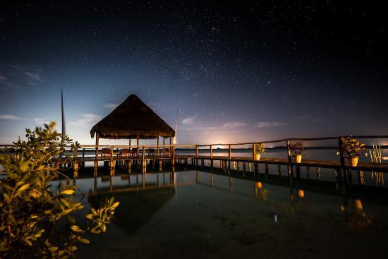 bacalar, muelle,  laguna, paisaje, paraiso, noche